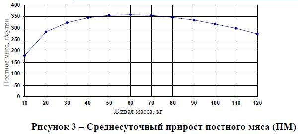 Среднесуточный прирост постного мяса (ПМ)
